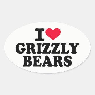 I Liebegrizzly-Bären Ovaler Aufkleber