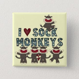 I Monkeys Liebe-Socke T-Shirts und Geschenke Quadratischer Button 5,1 Cm