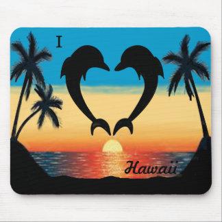 I Ozean-Sonnenuntergang-Palmen Herz-Hawaiis Mousepad