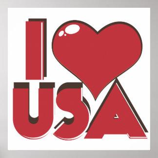 I Retro 80er Liebe USA Poster