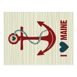I roter Schiffs-Anker Liebe-Maines Postkarte