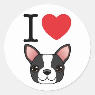 I terriers de Boston de coeur Autocollant Rond