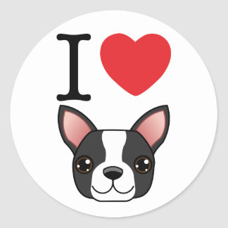 I terriers de Boston de coeur Autocollants