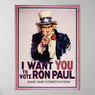 I Wan't retten Sie, zum von RON PAUL zu wählen Poster