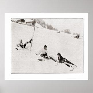 Iamge vintage de ski, amusement dans la neige poster