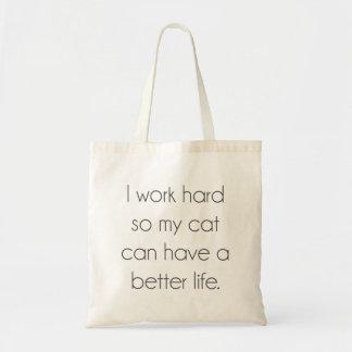 Ich arbeite schwer, also kann meine Katze ein Tragetasche