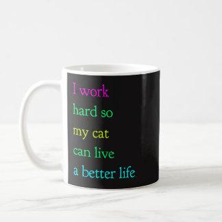 Ich arbeite schwer, also kann meine Katze leben Kaffeetasse