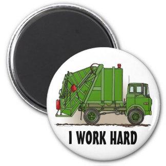 Ich bearbeite hartes Abfall-LKW-Grün-runden Runder Magnet 5,7 Cm