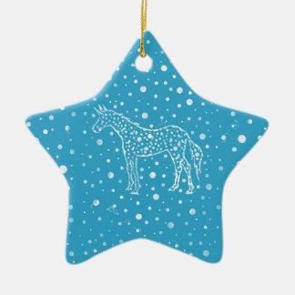 Ich beschmutze ein blaues Einhorn Keramik Stern-Ornament