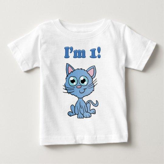 Ich bin 1 blaues Kätzchen-Shirt Baby T-shirt