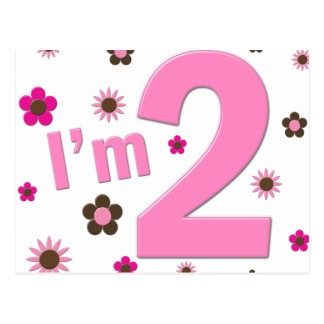 """Ich bin 2"" Rosa u. Brown-Blumen Postkarte"