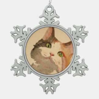 Ich bin alle Ohren: Kaliko-Katzen-Porträt Schneeflocken Zinn-Ornament