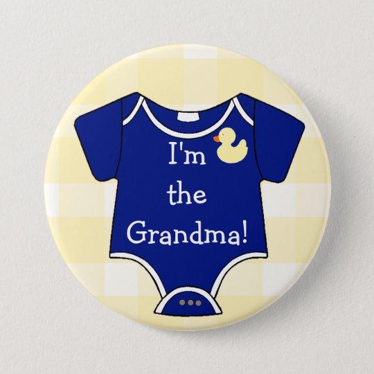 Ich bin das Großmutter-Marine-Blau auf gelbem Runder Button 7,6 Cm