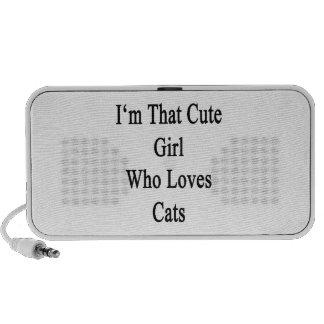 Ich bin dieses niedliche Mädchen, das Liebe-Katzen Laptop Lautsprecher