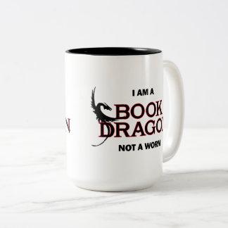 Ich bin ein Buch-Drache, nicht ein Wurm Zweifarbige Tasse