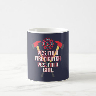 Ich bin ein Feuerwehrmann und ein Mädchen Kaffeetasse