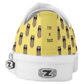 Ich bin ein Schrei! Gelbe Eulen-Schuhe Niedrig-geschnittene Sneaker