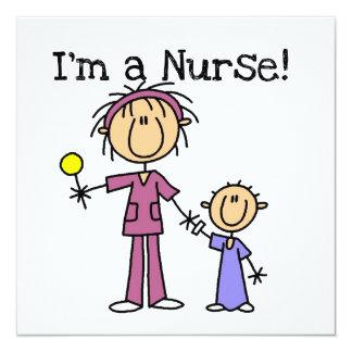 Ich bin eine Krankenschwester-T - Shirts und Quadratische 13,3 Cm Einladungskarte