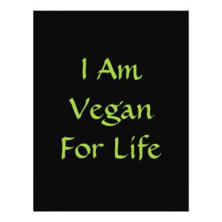 Ich bin für das Leben vegan. Grün. Slogan. Gewohnh 21,6 X 27,9 Cm Flyer