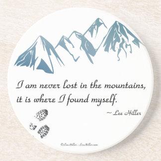 Ich bin nie in den Bergen, es bin wo… verloren Sandstein Untersetzer