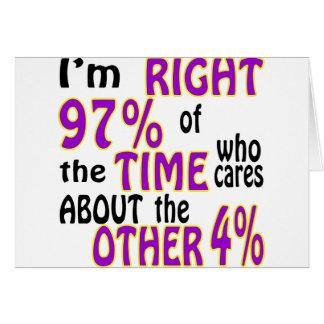 Ich bin rechtes 97% der Zeit, die sich ungefähr Karte