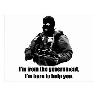 Ich bin von der Regierung, ich bin hier, Ihnen zu Postkarte