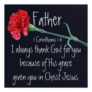 Ich danke immer Gott für Sie Vaterbibel-Vers Poster