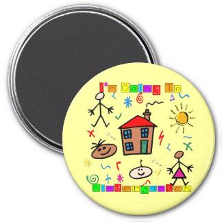 Ich gehe zum Kindergarten Runder Magnet 7,6 Cm