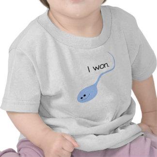 Ich gewann blauen lustigen Baby-T - Shirt