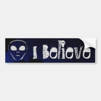 Ich glaube alien UFO-Planeten-Stoßdämpfer Autoaufkleber