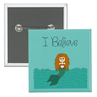 Ich glaube dass - Meerjungfrau - ändern Sie Farbe Quadratischer Button 5,1 Cm