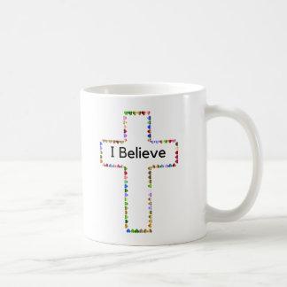 Ich glaube Inspirational Tasse mit Herz-Kreuz