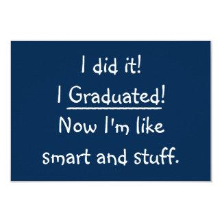 Ich graduierte lustige Abschluss-Party 8,9 X 12,7 Cm Einladungskarte