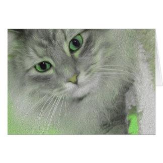 Ich habe Augen für Sie - grüne Neonkatze nur Mitteilungskarte