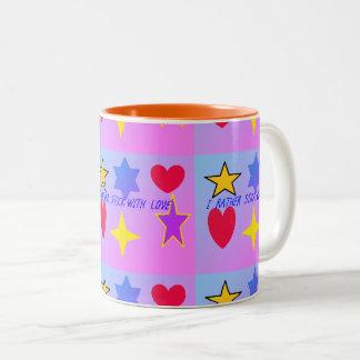 Ich hafte eher mit der Liebe-Tasse Zweifarbige Tasse