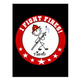 Ich kämpfe Feuer-Feuerwehrmann Postkarte