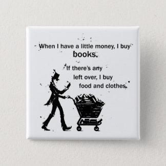 Ich kaufe Bücher Quadratischer Button 5,1 Cm