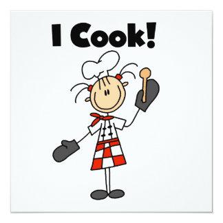 Ich koche - weiblichen Koch Quadratische 13,3 Cm Einladungskarte