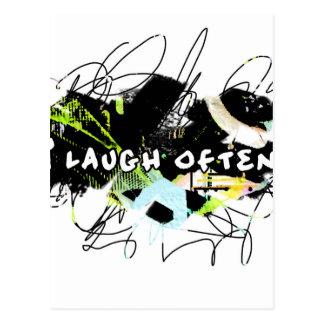 ich lache häufig.  Gefühl Good.Be Happy.Tell die Postkarte