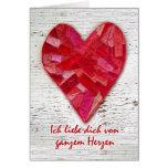 Ich liebe dich, deutsche SprachValentinsgruß, Herz Grußkarte