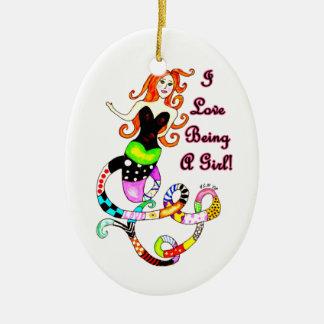 """""""Ich Liebe, die ein Mädchen-"""" Meerjungfrau ist Ovales Keramik Ornament"""