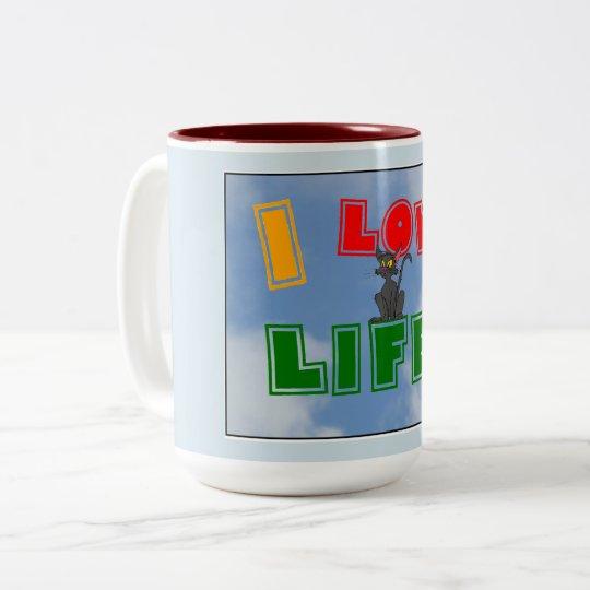 """""""Ich Liebe-Leben!"""" Kaffee-Tasse Zweifarbige Tasse"""