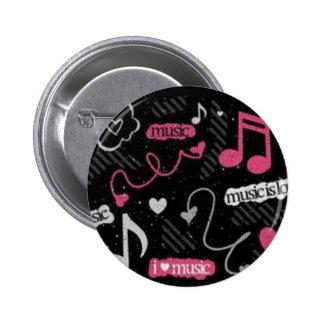 """""""Ich Liebe-Musik-"""" Rosa-runder Knopf Runder Button 5,1 Cm"""