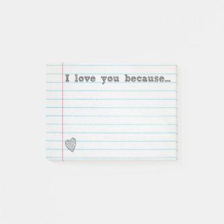 """""""Ich Liebe Sie, weil…"""" füllen Sie die leere Post-it Klebezettel"""