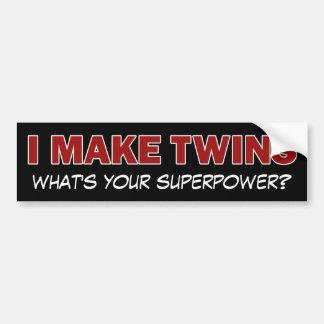 ICH MACHE ZWILLINGE, was bin Ihre Supermacht? Autosticker