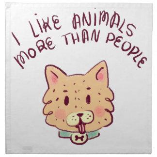 Ich mag Tiere mehr als Leute, Hund Stoffserviette