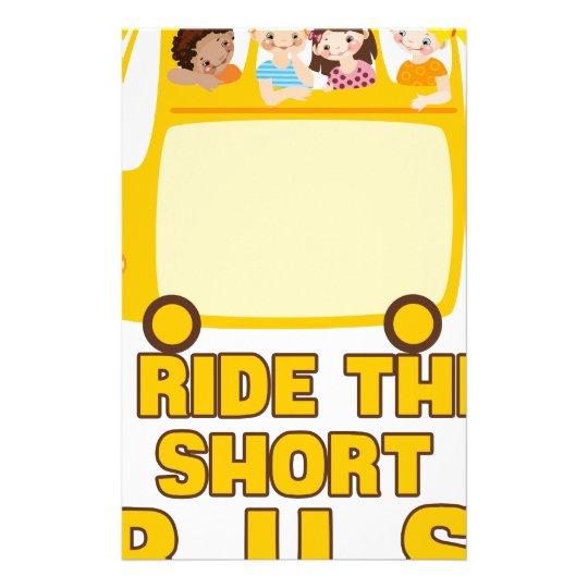 Ich reite das kurze Bus GELB-SCHULbus-COMIC Briefpapier
