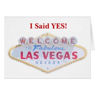 Ich sagte JA! Mitteilung C Las Vegas Save the Date Karte