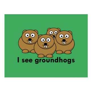 Ich sehe groundhogs postkarte