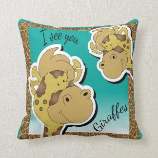 Ich sehe Sie Giraffen Kissen